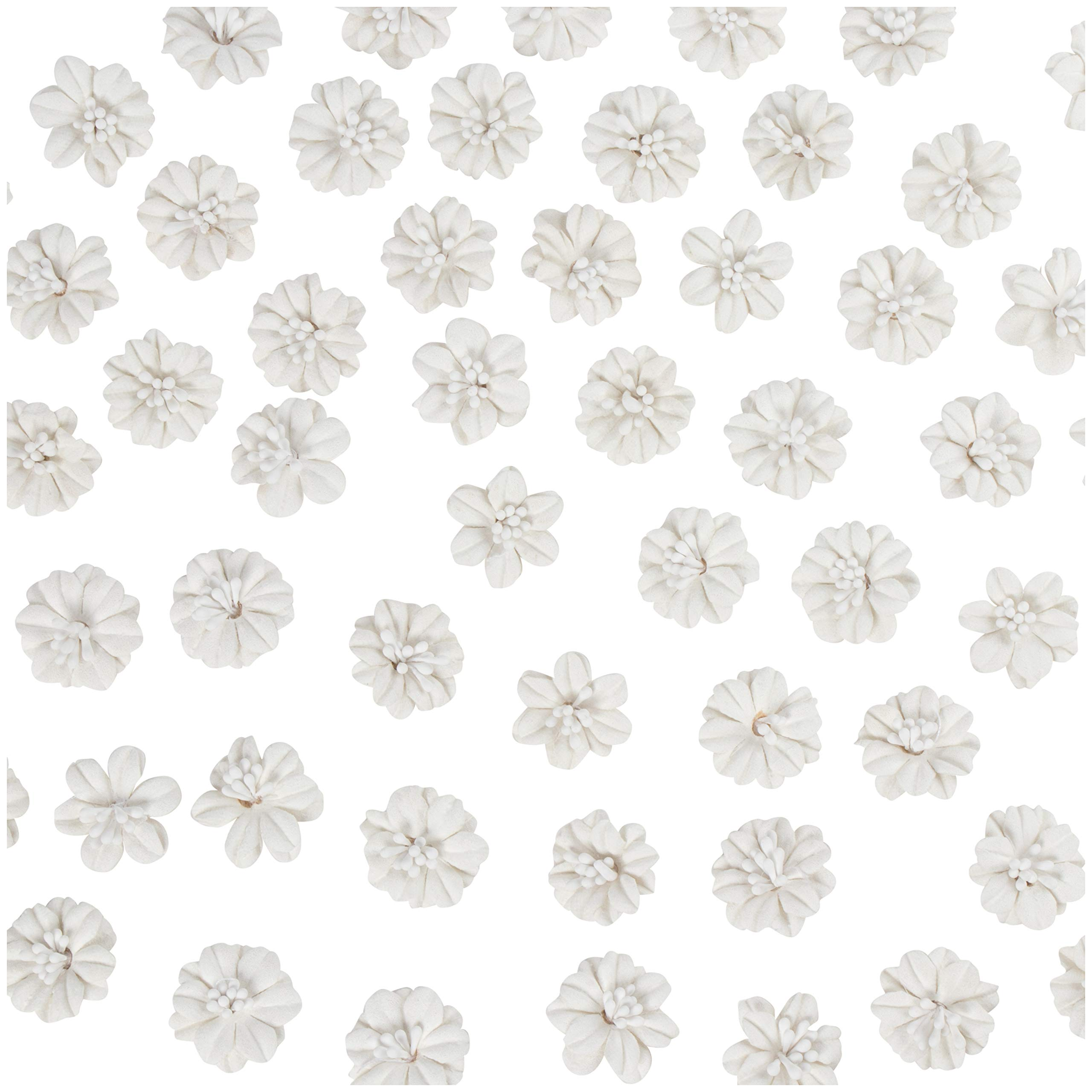 Decorative Craft Flowers - 100-Pack Flower Embellishment, Applique, Table Scatter, Artificial Flower Head for Scrapbooking, DIY, Wedding Party Decoration, White, Double Layer, 1 x 1 x 0.4 Inches