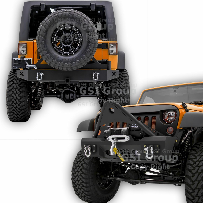 GSI Rock Crawler Stingerフロントバンパーwith OEフォグライト穴と巻き上げリアバンパープレート+タイヤキャリアと2