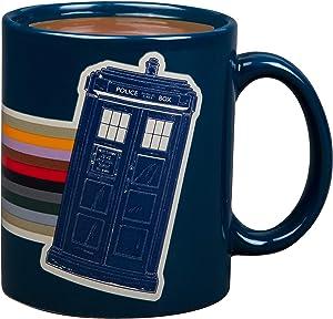 Doctor Who Ceramic Coffee Mug - Tardis and Rainbow 13th Dr. Design - 11 oz