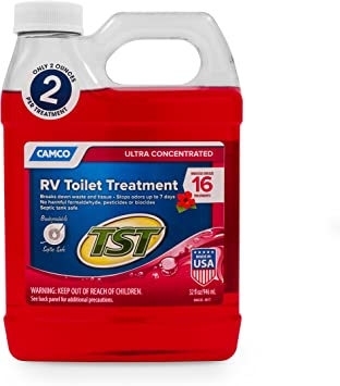 Amazon Com Camco Tst Ultra Concentrated Hibiscus Scent Rv Toilet Treatment Formaldehyde Free Breaks Down Waste And Tissue Septic Tank Safe Treats Up To 8 40 Gallon Holding Tanks 32 Oz Bottle 41602 Automotive