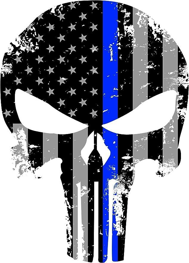 Empire Tactical USA Andrajosa nos reflectantes bandera calcomanía cráneo castiga con la línea azul fina oscuro: Amazon.es: Hogar