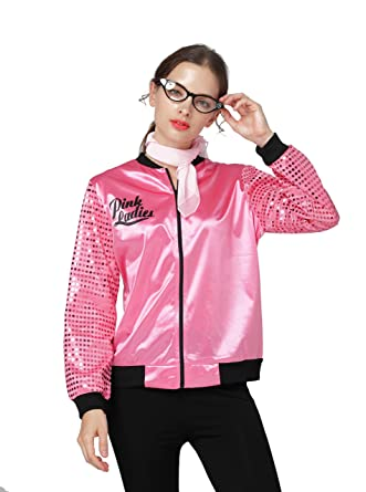 64fa497573a76 IWIWB Grease Pink Ladies Jacket Adult Womens Lady 1950s Fancy Dress 50s  Outfit Costume (X