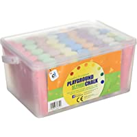 CI CS 1752 Colour Jumbo Playground Chalk in A Plastic Container with Handle (52-Piece)
