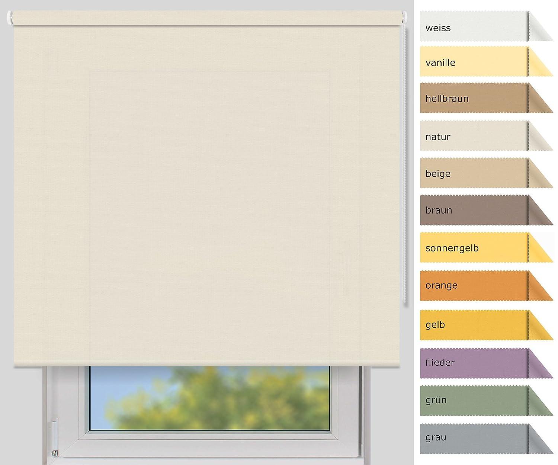 EFIXS Sichtschutzrollo Medium - 25 mm Welle - Farbe  natur - Größe  220x190cm (Stoffbreite x Höhe) - weitere Standard-Größen im Angebot wählbar B00YEWZUWS Seitenzug- & Springrollos