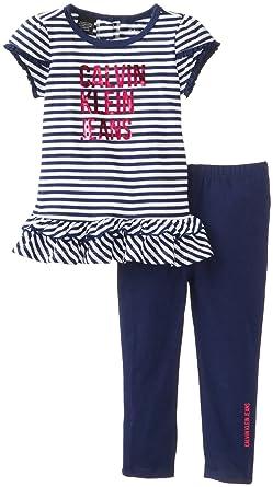 ea13610490 Amazon.com  Calvin Klein Baby Girls  Stripes Top with Leggings
