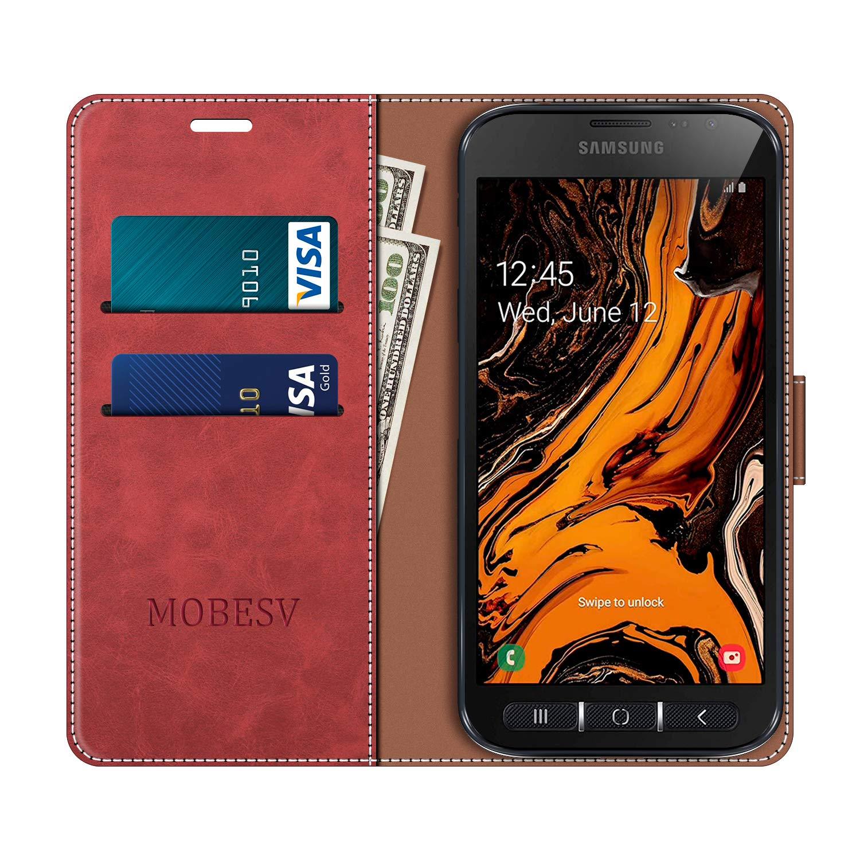 MOBESV Funda para Samsung Galaxy Xcover 4S Rojo Funda M/óvil Samsung Galaxy Xcover 4S Magn/ético Carcasa para Samsung Galaxy Xcover 4S Funda con Tapa Funda Libro Samsung Xcover 4S