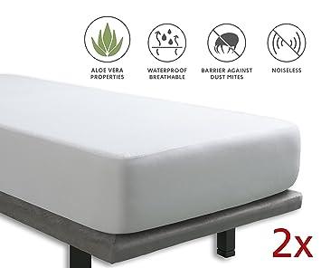 Tural – Protector de colchón Impermeable (Pack de 2). Cubre colchon con Tratamiento