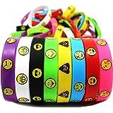 Joyin Toy 48 Pieces Emoji Emotion Silicone Wristband Bracelets Kids Party Favor