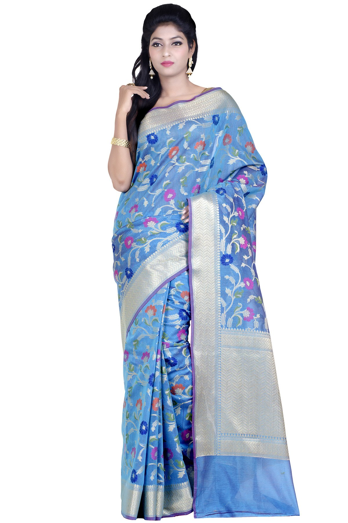 Chandrakala Women's Blue Mercerize Cotton Banarasi Saree with unstitched Blousepiece.