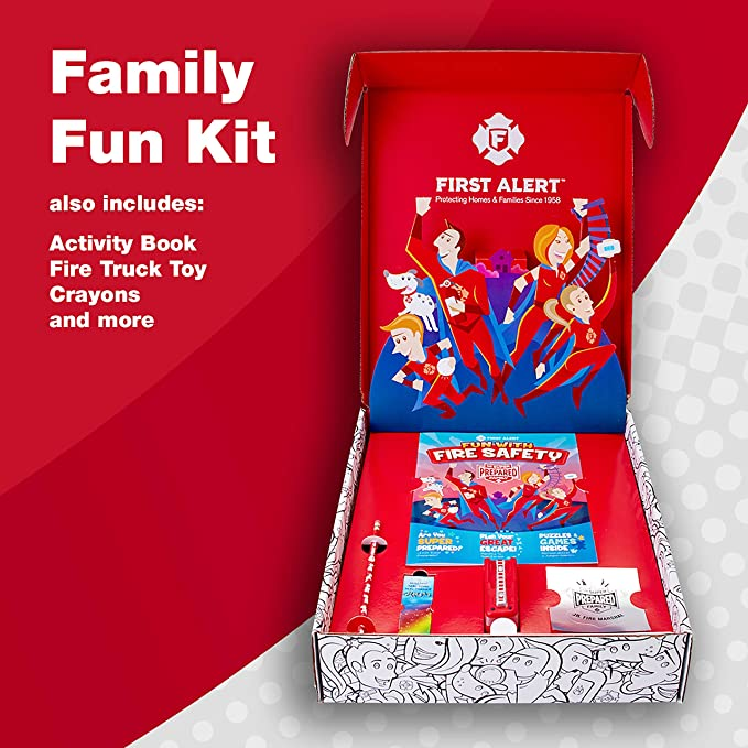 First Alert PRC710 10 Year Battery Combination Smoke & Carbon Monoxide  Alarm, Family Value 4 Pack with Free Goodies for Kids