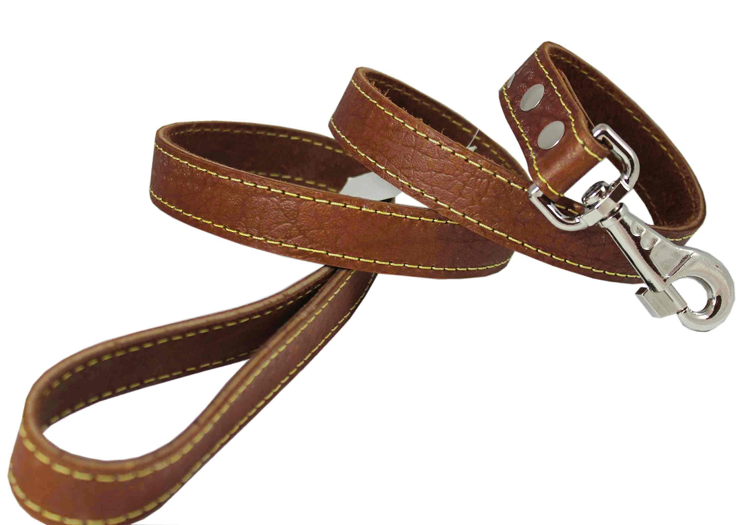4' Classic Genuine Leather Dog Leash 1'' Wide for Largest Breeds Brown