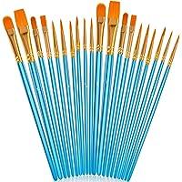Acrylic Paint Brush Set, 2 packs/20pcs Nylon Hair Brushes for All Purpose Oil Watercolor Painting Artist Professional…