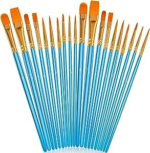 Soucolor Acrylic Paint Brushes Set, 20Pcs Artist Paintbrushes Paint Brushes for Acrylic Oil Watercolor, Canvas Body Face Rock Painting Kit, Fine Detail Miniature, Adult/Kids Arts Crafts Supplies, Blue