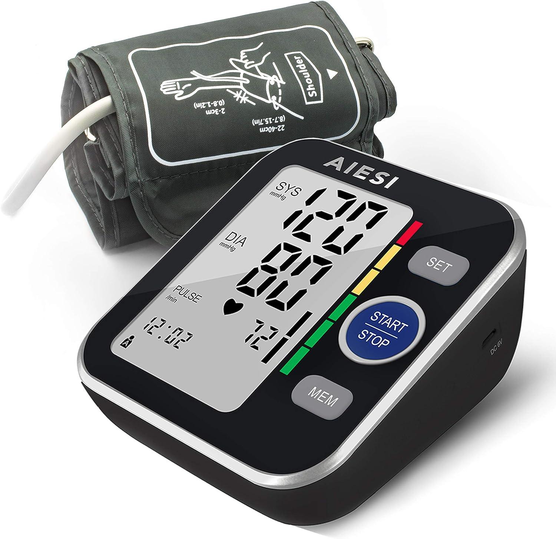 AIESI® Tensiómetro digital de brazo profesional automático para adultos A6 # Esfigmomanómetro electrónico # 120 memorias # Baterías # Adaptador de red y USB # Garantía de 24 meses
