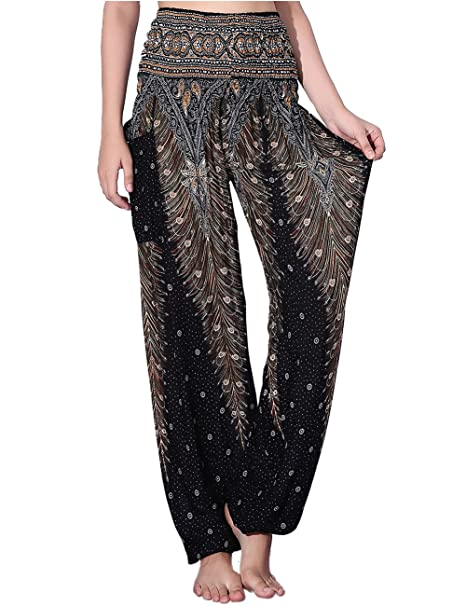 1269ea5cdba77 CHRLEISURE Women's Loose Harem Pants Boho Peacock Print High Waisted Yoga  Pants Black,X-