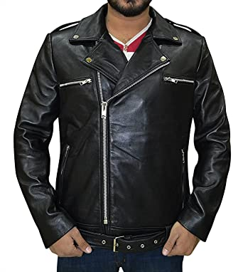 b423d8ae9 Genuine Lambskin Biker Black Leather Jacket - Motorcycle Mens ...