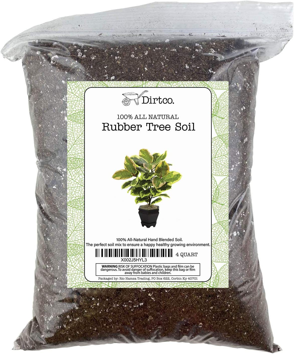 "Hand Blend Rubber Plant Soil, Soil Mix for Rubber Burgundy Ficus Plant, Repot from 4"" Pot to Grower Pot or Larger, 4qt Rubber Tree Soil"