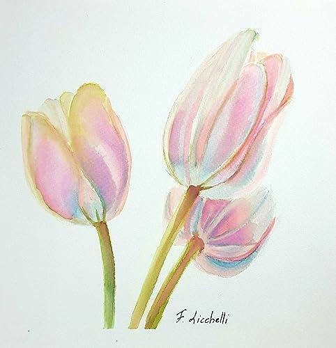 Tulipani rosa, acquerello, dipinto originale, pezzo unico, 20x20 ...