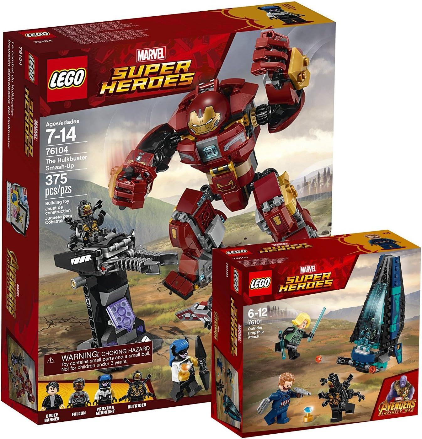 Lego Marvel Super Heroes 76104–Destrucción del Hulkbuster + Lego Marvel Super Heroes 76101–Outrider dropship de ataque