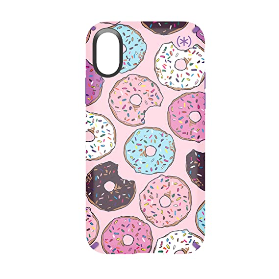 super popular 65ce3 55c6f Speck Products Compatible Phone Case for Apple iPhone XS and iPhone X,  Presidio Inked Cell Phone Case, DONUTWORRY Pink Glossy/Heliotrope Purple