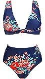COCOSHIP Women's Retro Lush Floral High Waisted Bikini Set Deep V-Neckline Top Concise Swimsuit(FBA)