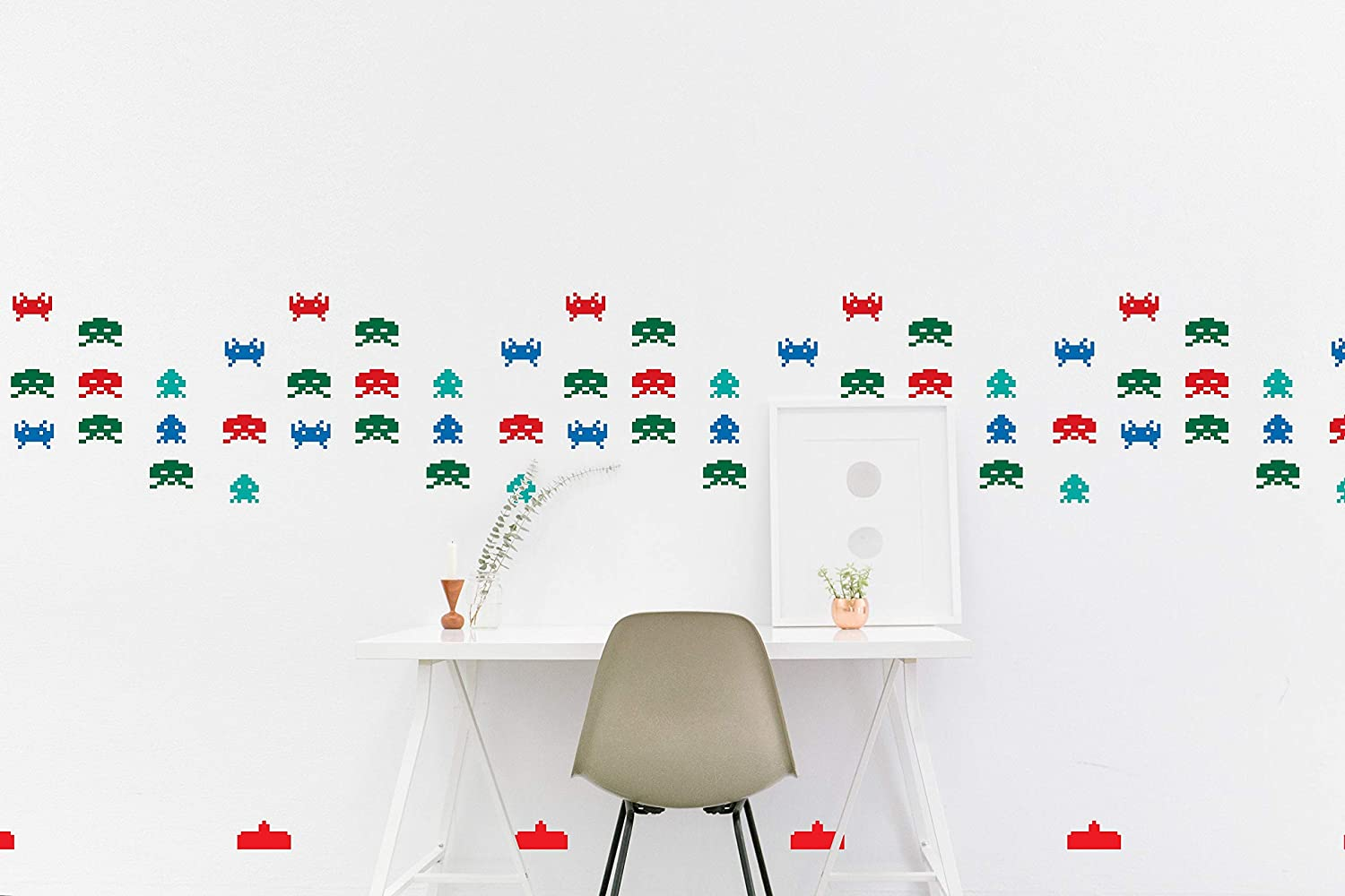 BYRON HOYLE Space Invaders Wall Decal Pattern Retro Atari Game Inspired Sticker Kids Room Wall Nursery Bedroom Wallpaper Vinyl Decals Home Decor Sticker