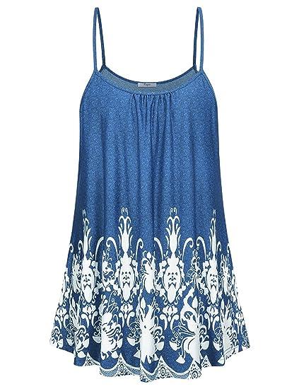 OUFour Verano Mujeres Backless Largas Camiseta de Tirantes Blusa Túnicas Moda Impresión Blouses Vest T-