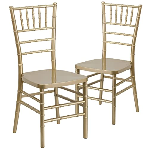 Flash Furniture 2 Pk. HERCULES PREMIUM Series Gold Resin Stacking Chiavari Chair