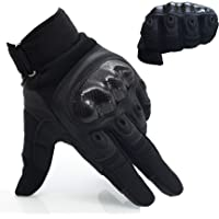 OMGAI Upgraded Men's Full Finger Motorcycle Gloves Tech Touch Gloves of PU Leather and Hard Knuckle for Military Tactical Airsoft Outdoor Sports Smart Gloves