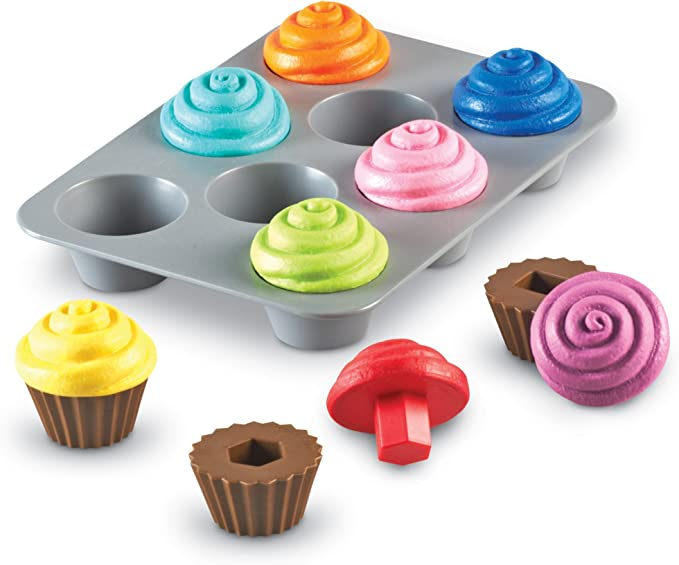 Learning Resources Smart Snacks Shape Sorting Cupcakes, Fine Motor, Color & Shape Recognition, Ages 18 mos+