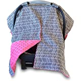 2 in 1 Carseat Canopy and Nursing Cover Up with Peekaboo Opening | Large Infant Car Seat Canopy for Girl | Best Baby Shower Gift for Breastfeeding Moms | Grey Herringbone Pattern and Hot Pink Minky