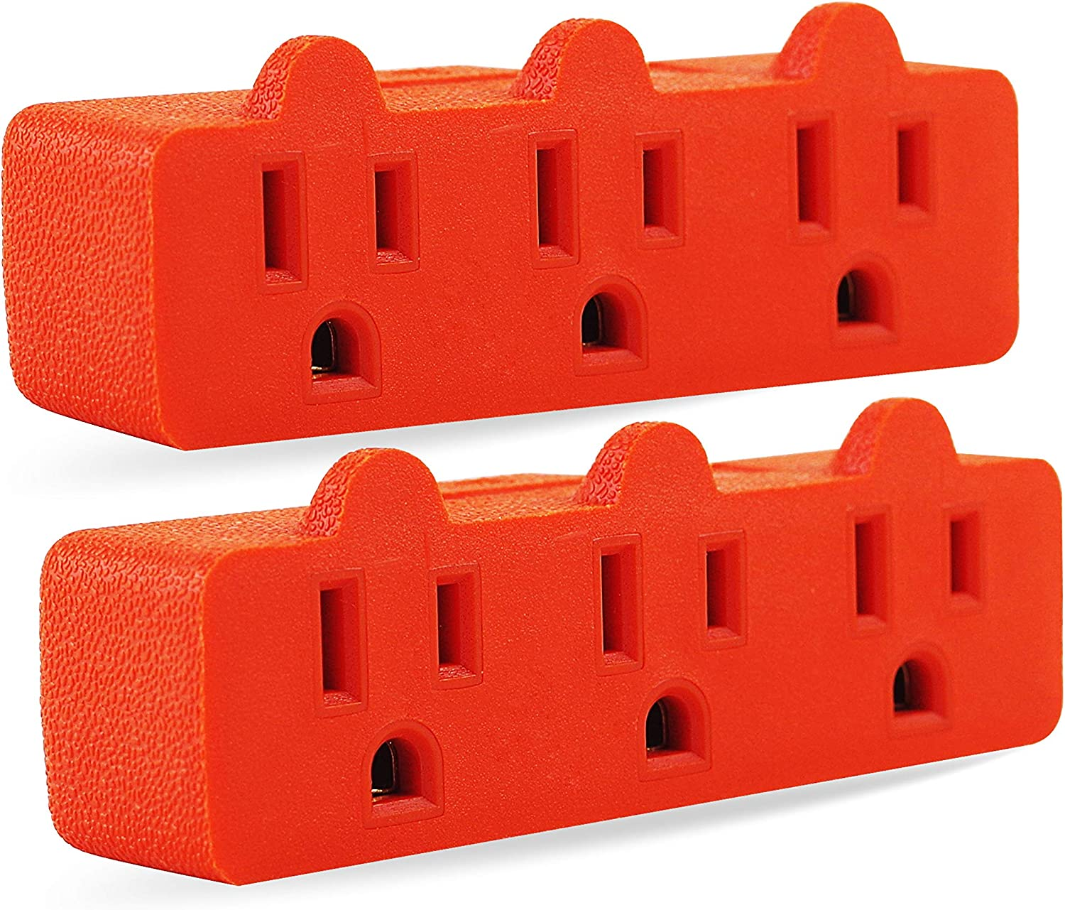 Three Plug Outlet Adapter, 3 Plug Extender, Heave Duty Wall Plug Splitter, Turn 1 to 3 Outlet, ETL Certified, Orange (2PACK)