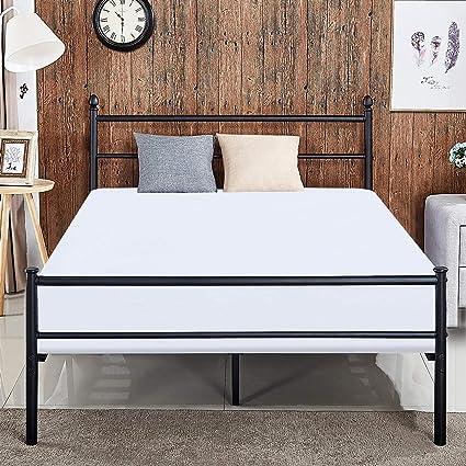 Amazoncom Vecelo Reinforced Metal Bed Frame Queen Size Platform