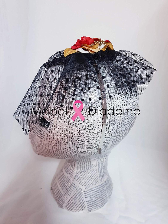Mabel Diademe diadema accesorio pelo mujer niña velo tul plumeti negro para bodas eventos adorno flores rojo y dorado tocados para bodas personalizados: ...