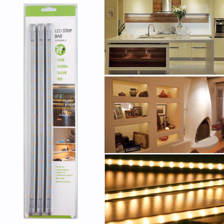 Puck luces para//de Cocina Gabinete Armario vitrina iluminaci/ón armario Leuchten tira luz LED todos los accesorios incluido 3 unidades blanco c/álido EFK LED Luz Descendente Kit RMS de 860 lm