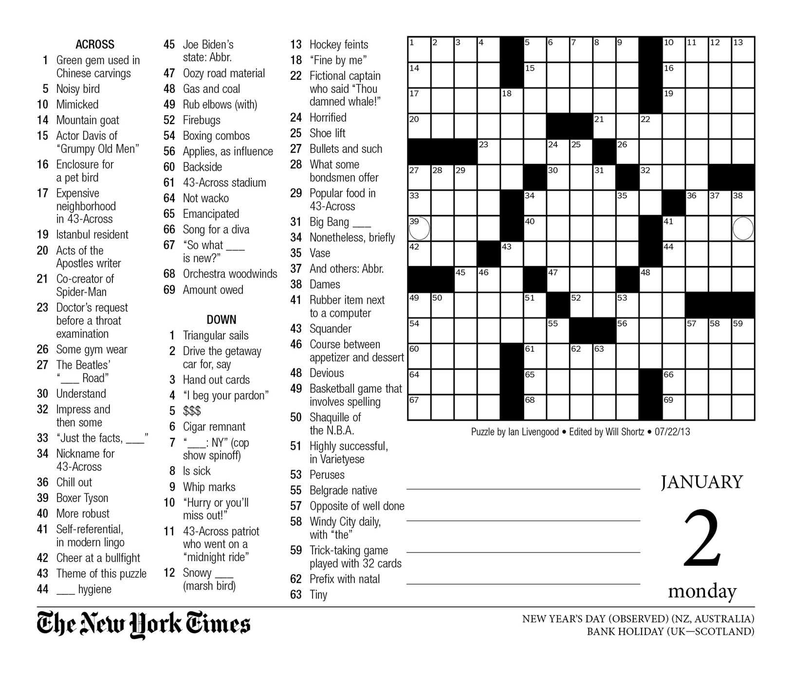 picture relating to Printable Ny Times Crossword Puzzles identified as The Refreshing York Instances Crosswords 2017 Working day-in the direction of-Working day Calendar: The