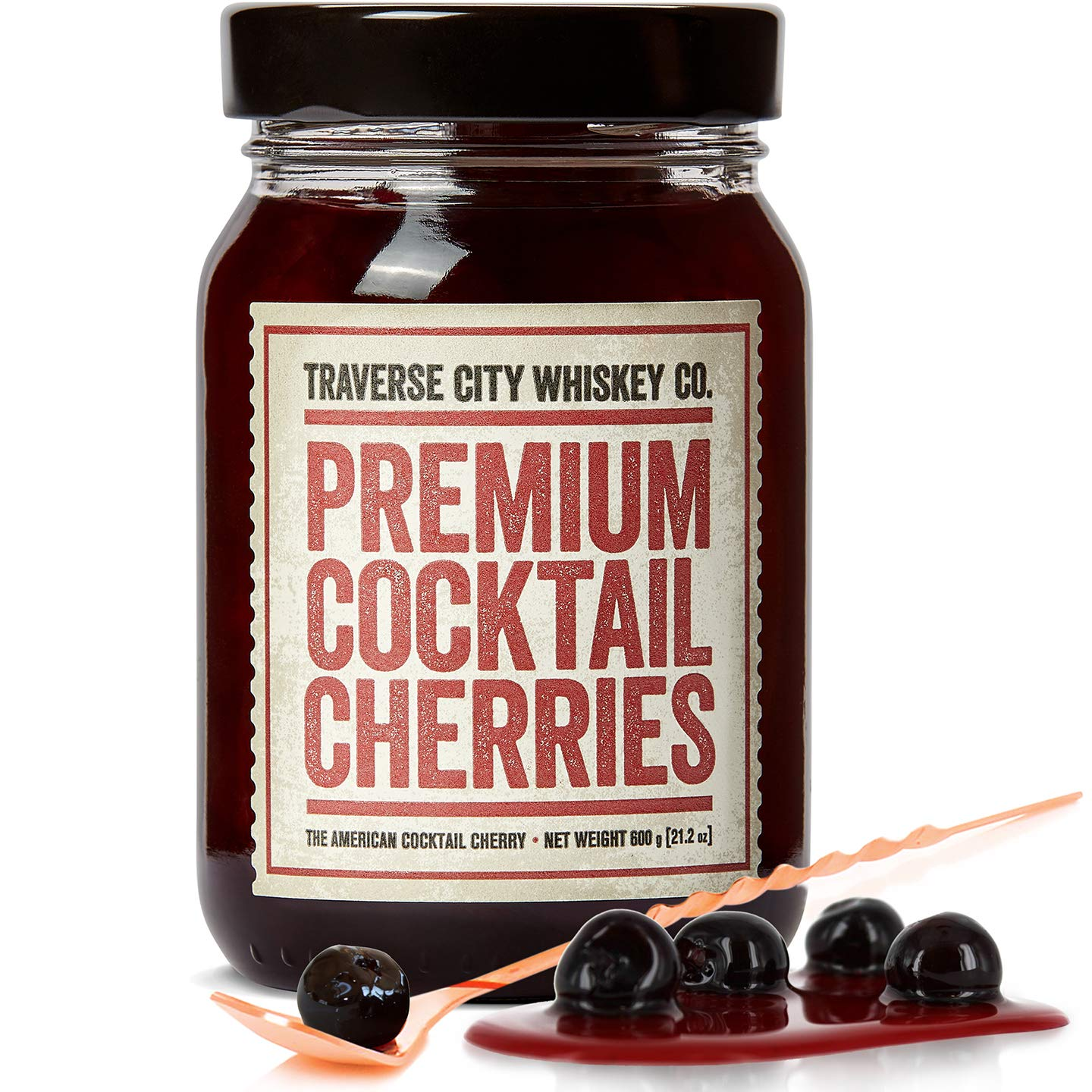 Premium Cocktail Cherries for Cocktails and Desserts | All American, Natural, Certified Kosher, Stemless, Slow-Cooked Garnish for Old Fashioned, Ice Cream Sundaes & more by TCWC (21 oz)