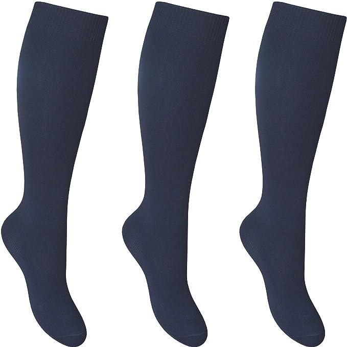 Pack 4 pares Alto hasta rodilla Calcetines azules para el colegio Lisos