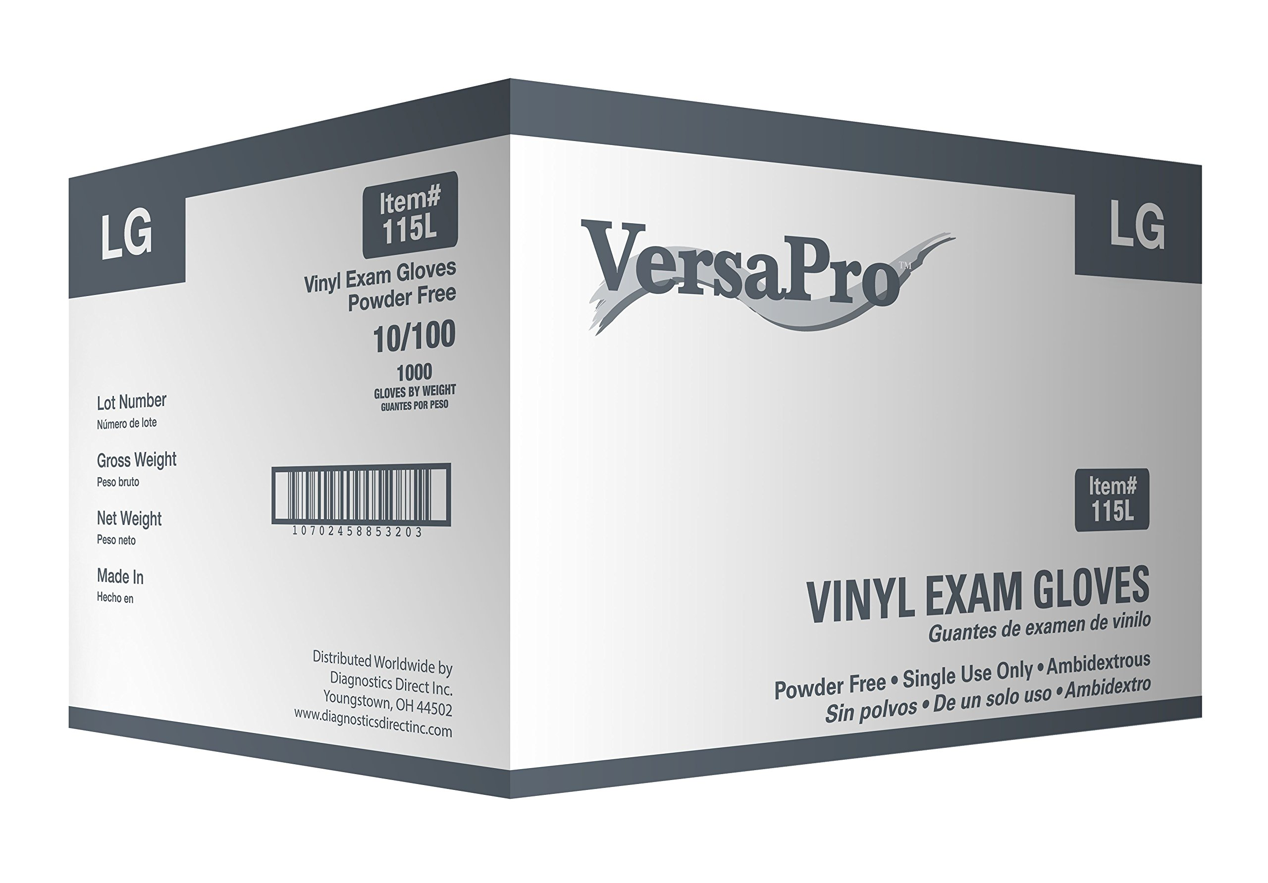 VersaPro 115L1000 Vinyl Exam Gloves, Powder-Free, Large (Pack of 1000)