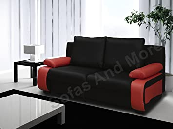 Superieur VICTORIO SOFA BED (BLACK AND RED)
