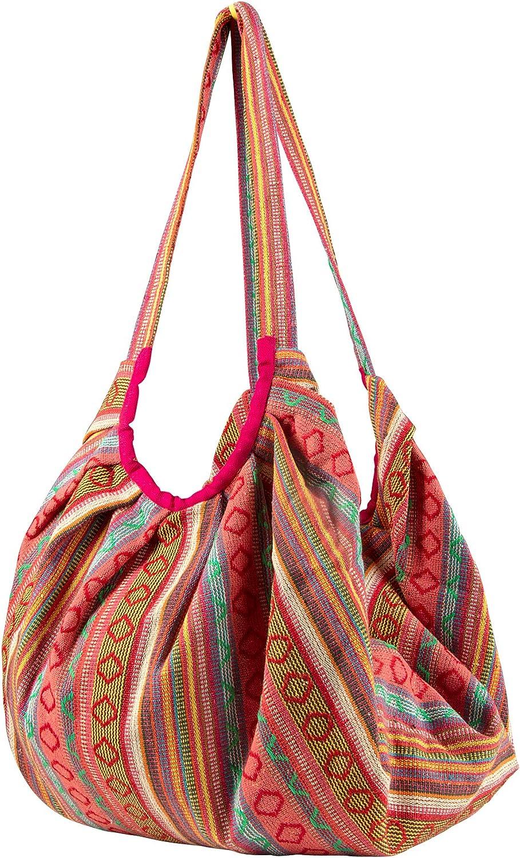 Pink Jacquard Cotton Shoulder Travel Canvas Tote Bag Hobo Style Casual Market Purse Handbag
