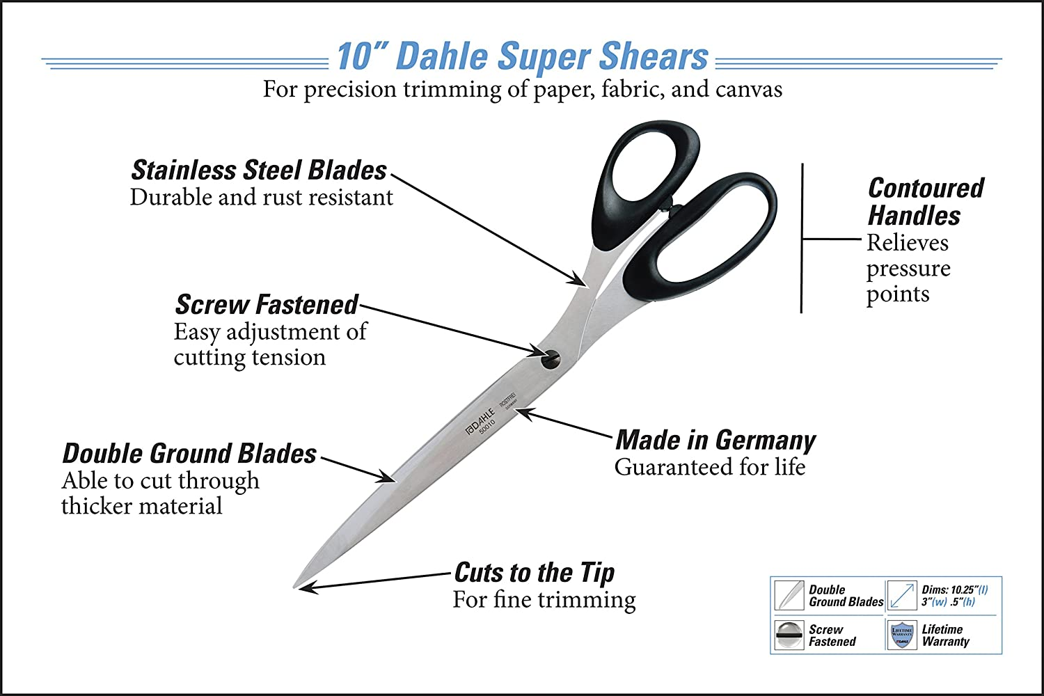 Dahle super super super Schere, Edelstahl, verstellbar Tension, Made in Germany, konturierten Griffen, Präzision double-ground Klingen, lebenslange Garantie B000KNBL8M | Die Qualität Und Die Verbraucher Zunächst