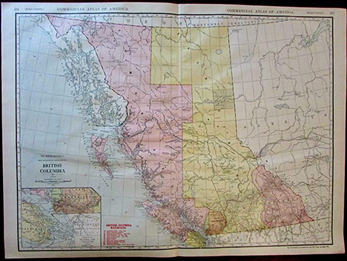 Amazon.com: Canada British Columbia Comox Atlin 1913 huge ...