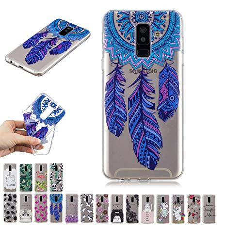 E-Mandala Funda Samsung Galaxy J6 2018 Atrapasueños Carcasa Transparente con Dibujos Case Cover Silicona Gel TPU Goma Bumper Ultra Fina Slim