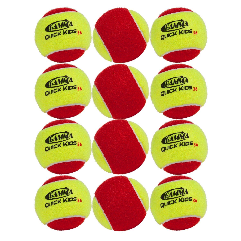 Gamma Sports Kids Training (Transition) Balls, Yellow/Red, Quick Kids 36, 12-Pack
