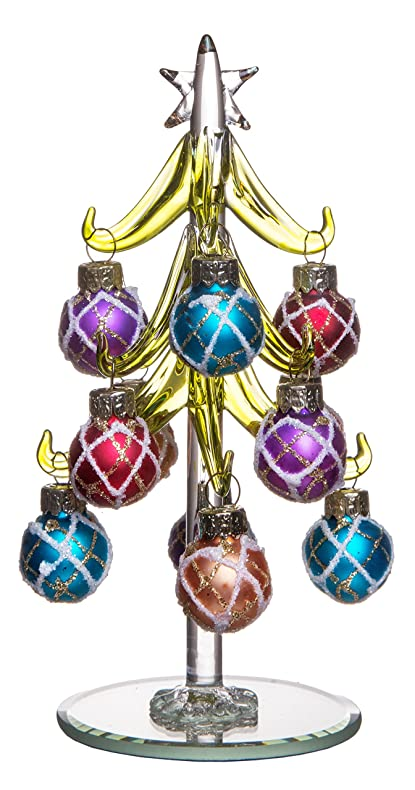 Mini Glass Christmas Tree Decoration Green With Multi Colored Removable Sphere Ornaments Holiday