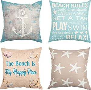 Summer Holiday Set of 4 Decorative Throw Pillow Covers, Beach Rules Pillow Cases, Home Decor Square 18x18 Inches Navy Blue Pillowcases, Nautical Cushion Cover, Yellow Starfish and Taupe Anchor