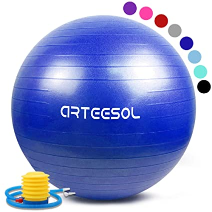 arteesol Bola de Ejercicio 45cm / 55cm / 65cm / 75cm Bola de Yoga Auti Burst Core Gym Swiss Ball con Bomba rápida para Entrenamiento de Pilates ...