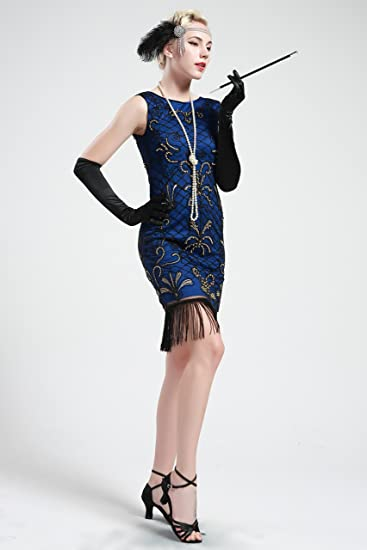 BABEYOND 1920s Flapper Dress 20s Great Gatsby Clothing Dress Embellished Fringed Cocktail Art Deco Dress Blue (Medium, Blue and Gold) at Amazon Womens ...