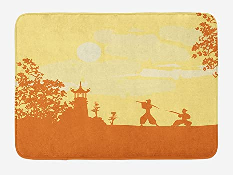 Doormats Japanese Bath Mat, Silhouette of Two Ninja Figures ...